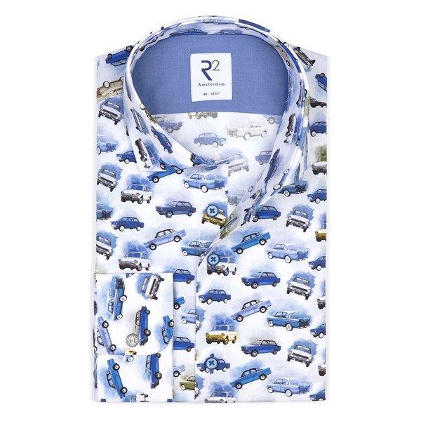R2 White car print cotton shirt.