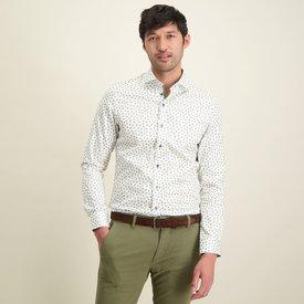 R2 Beige flower print cotton shirt.