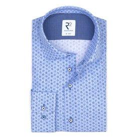 R2 Blue graphical print cotton shirt.