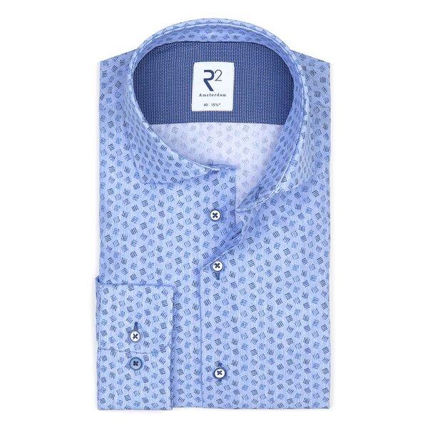 R2 Blauw grafische print katoenen overhemd.