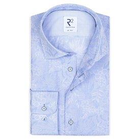 R2 Light blue flower print cotton shirt.