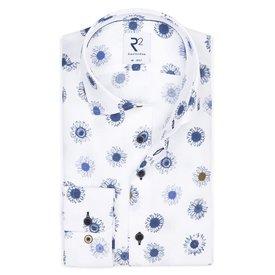 R2 White flower print cotton shirt.