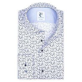 R2 White graphic print cotton shirt.