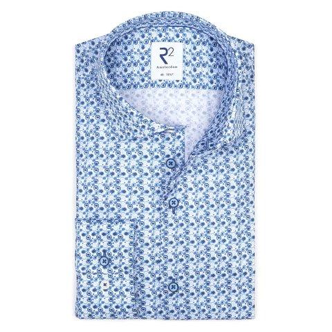 Blauwe print katoenen overhemd.