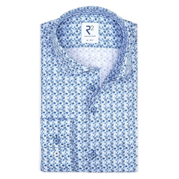 R2 Blauwe print katoenen overhemd.