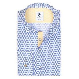 R2 White floral print cotton seersucker shirt.