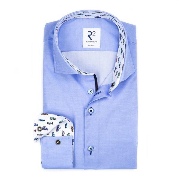 R2 Lichtblauw katoenen overhemd.