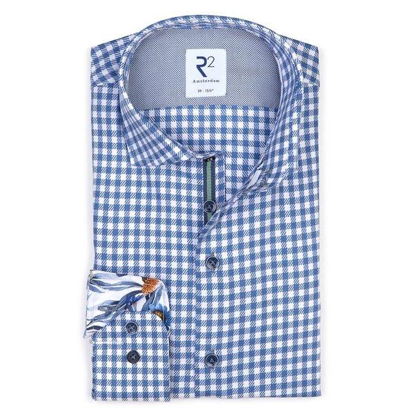 R2 Wit blauw Pied-de-poule katoenen overhemd.