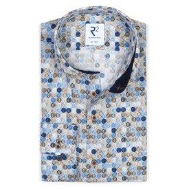 R2 Light blue graphical print cotton shirt.