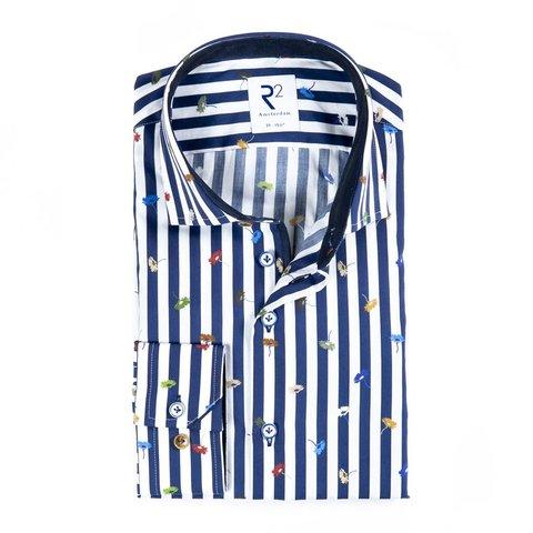 Blue striped flower print cotton shirt.