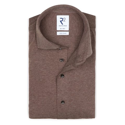 Bruin single jersey knitted katoenen overhemd.