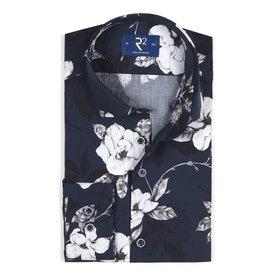 R2 Navy blue flower print cotton shirt.
