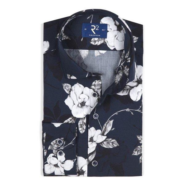 R2 Navy bloemenprint katoenen overhemd.
