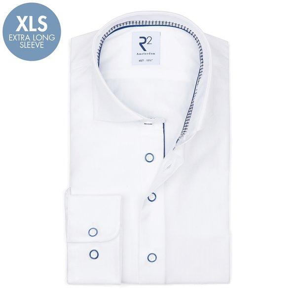 R2 Extra Lange Mouwen. Wit 2 PLY katoenen overhemd