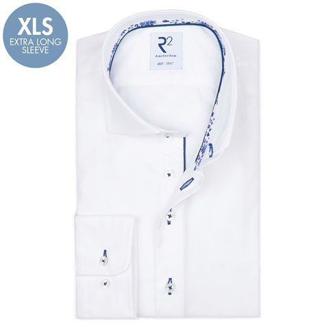 Extra Lange Mouwen. Wit 2 PLY katoenen overhemd