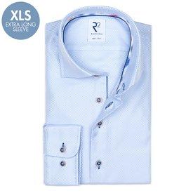 R2 Extra Long Sleeves. Light blue dobby 2 PLY cotton shirt