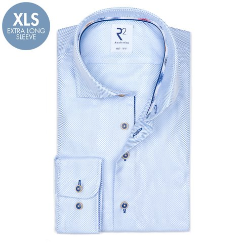 Extra Lange Mouwen. Lichtblauw dobby 2 PLY katoenen overhemd