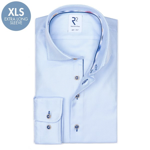 R2 Extra Lange Mouwen. Lichtblauw dobby 2 PLY katoenen overhemd