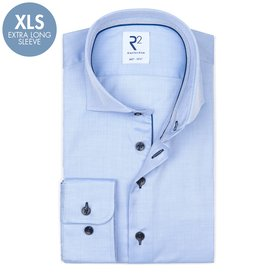 R2 Extra Long Sleeves. Light blue herringbone 2 PLY cotton shirt