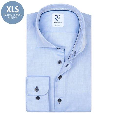 Extra Lange Mouwen. Lichtblauw herringbone 2 PLY katoenen overhemd