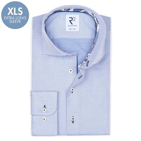 Extra Lange Mouwen. Blauw dobby katoenen overhemd