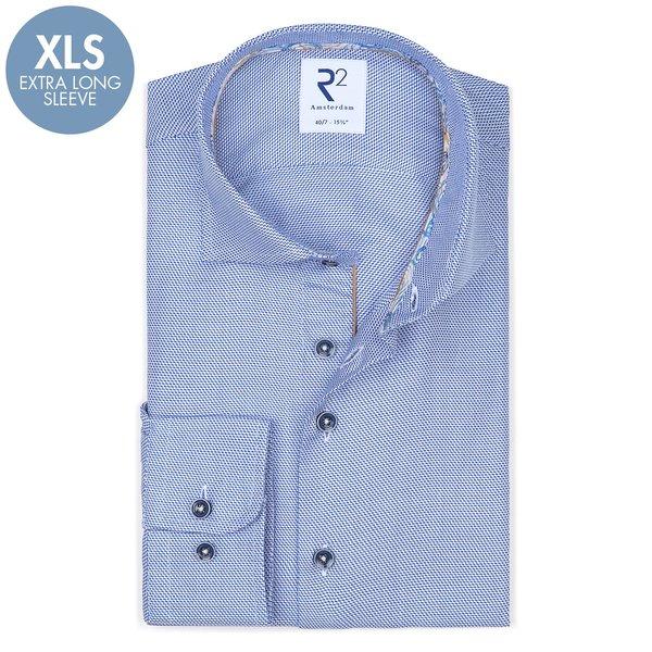 R2 Extra Lange Mouwen. Blauw dobby katoenen overhemd