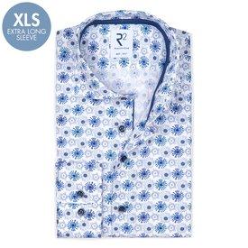 R2 Extra Long Sleeves. White fantasy print cotton shirt