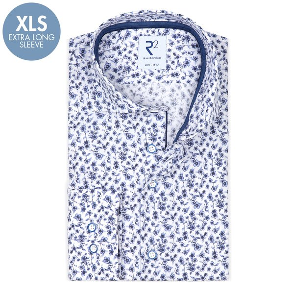R2 Extra Lange Mouwen. Wit bloemenprint katoenen overhemd