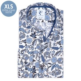 R2 Extra Long Sleeves. White nature print cotton shirt