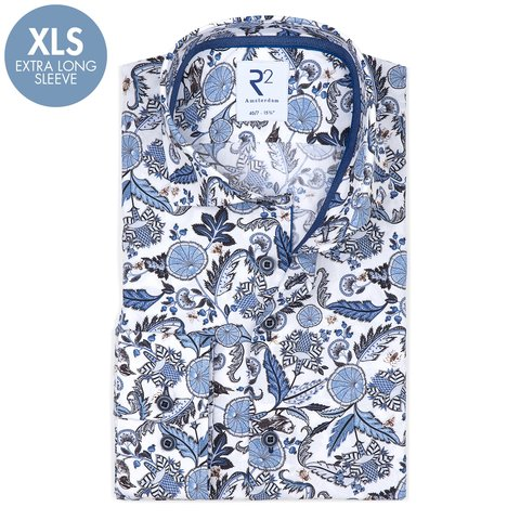 Extra Lange Mouwen. Wit natuurprint katoenen overhemd