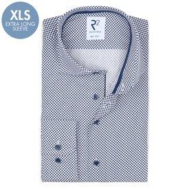 R2 Extra lange Ärmel. Weiß Tupfendruck Baumwollhemd