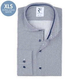 R2 Extra Long Sleeves. White dot print cotton shirt