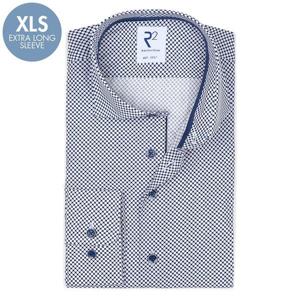 R2 Extra Lange Mouwen. Wit Tupfendruck katoenen overhemd