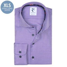 R2 Extra Long Sleeves. Purple pied de poule 2 PLY cotton shirt