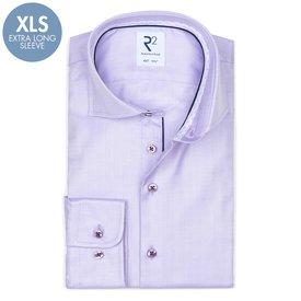 R2 Extra Long Sleeves. Lilac herringbone cotton shirt