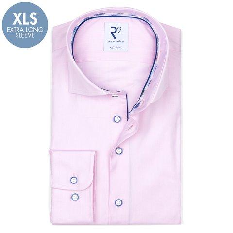 Extra Lange Mouwen. Roze oxford 2 PLY katoenen overhemd