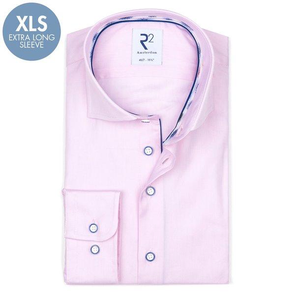 R2 Extra Lange Mouwen. Roze oxford 2 PLY katoenen overhemd