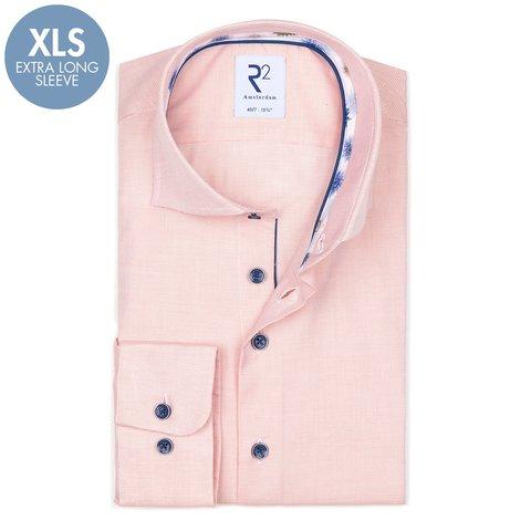 Extra Lange Mouwen. Oranje oxford 2 PLY katoenen overhemd