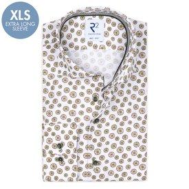 R2 Extra Long Sleeves. White lemon print cotton shirt