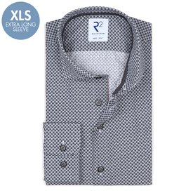 R2 Extra Long Sleeves. Anthracite fantasy print cotton shirt