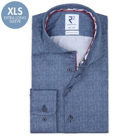 Extra Lange Mouwen. Blauw herringbone-print katoenen overhemd