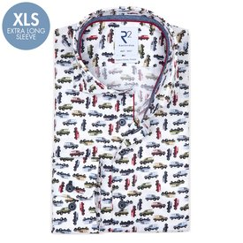 R2 Extra Long Sleeves. White Jeep wagoneer print 2 PLY cotton shirt