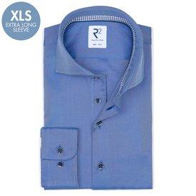 R2 Extra lange Ärmel. Blaues schwerer Twill 2 PLY Baumwollhemd