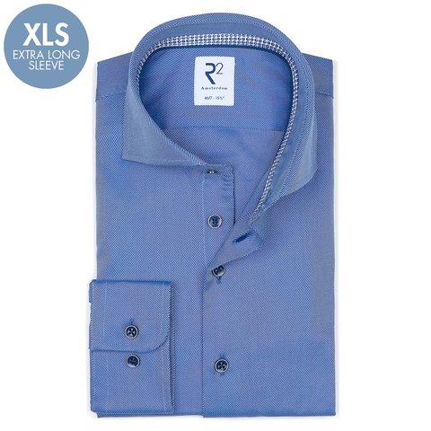 Extra Lange Mouwen. Blauw heavy twill 2 PLY katoenen overhemd