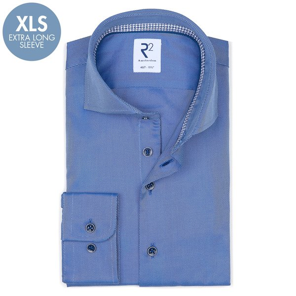 R2 Extra Lange Mouwen. Blauw heavy twill 2 PLY katoenen overhemd