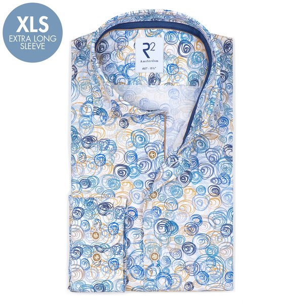 R2 Extra Lange Mouwen. Wit cirkelprint 2 PLY katoenen overhemd