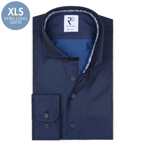 Extra Lange Mouwen. Donkerblauw katoenen overhemd