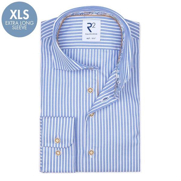 R2 Extra Lange Mouwen. Lichtblauw gestreept oxford 2 PLY katoenen overhemd