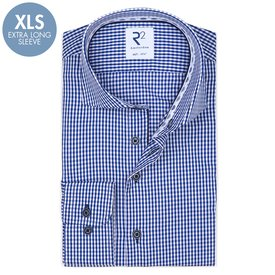 R2 Extra Long Sleeves. Cobalt Blue check cotton shirt