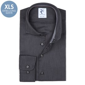 R2 Extra Long Sleeves. Anthracite dobby cotton shirt